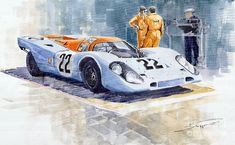 Yurly Shevchuk   WATERCOLOR    Porsche 917k Gulf 1970 Le Mans Test Weighing Painting
