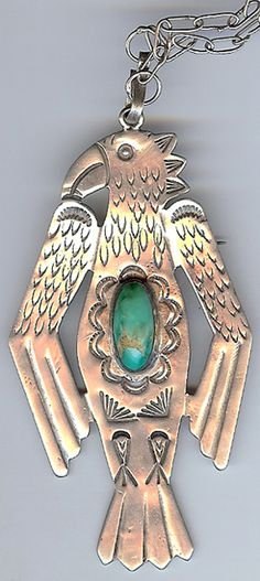 VINTAGE NAVAJO STERLING SILVER & TURQUOISE LARGE THUNDERBIRD NECKLACE PIN