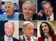 Clockwise, from top left: Representatives John Shimkus of Illinois, Joe Barton of Texas, Jack Kingston of Georgia, Michele Bachmann of Minnesota, Todd Akin of Missouri and Paul Broun of Georgia