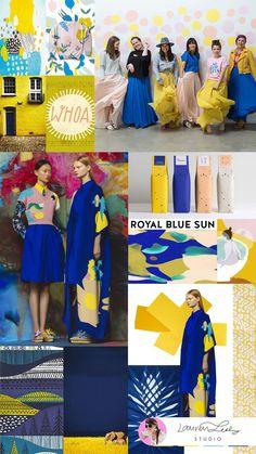 Fashion Color Report by Lauren Lesley Studio Pop Art Fashion, Yellow Fashion, Fashion Colours, Fashion Fabric, Colorful Fashion, Look Fashion, Colour Combinations Fashion, Royal Blue Color, Color Pop