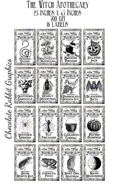 Halloween Witch Apothecary Potion Labels Digital Download Bottle Jar Tags Vintage Style Image Clip Art Printable Collage Sheet Black White