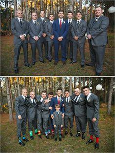 charcoal groomsmen with funky socks @weddingchicks