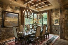 Dining Room, Chimney Rock Residence, Locati Architects, Photo by Roger Wade Studio