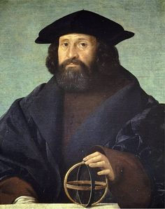 Giovanni Cariani (1490-1547, painter in Venice), Portrait of an astronomer, ca. 1520, Staatliche Museum Berlin.