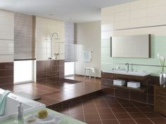 spacious bathroom  brown ceramic bathroom flooring