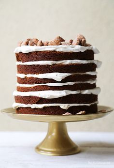 gingerbread layer cake with maple whipped cream & cinnamOn sugar almonds