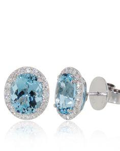 Fine Jewelry Genuine Aquamarine 14K White Gold Stud Earrings llj3lyQ7C