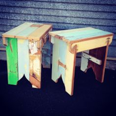 RAWs popular single bench seats made from 100yr old recycled timber - too cute :) www.facebook.com/rawsunshinecoast