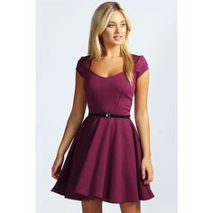 Boohoo Lara Sweetheart Neck Skater Dress (265 DKK) via Polyvore featuring dresses, grape, bodycon dress, bodycon party dresses, midi skater dresses, mini dress and jersey maxi dress