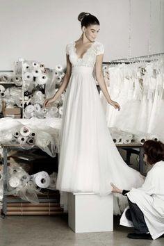 vestido de noiva com manga curta em renda de atelier cymbeline 2016