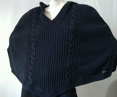 CALVIN KLEIN JEANS Large Black Cable Knit Pullover Cape Hoodie Sweater Coat #CALVINKLEINJEANS #HoodedCapePulloverSweaterCoat