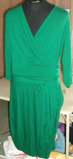 NWT $119 Talbots Kelly Green Jersey Knit  NO WRINKLE Career Dress for Spring  XL