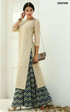 Mirror Work Kurta Palazzo Set This straight kurta palazzo set detailed with beautiful mirror work adds a touch of elegance to this set.The indigo dyed chevron palazzo puts one up on the best dressed radar.The kurta palazzo set is crafted in chanderi. Ethnic Fashion, Look Fashion, Hijab Fashion, Indian Fashion, Fashion Dresses, Kurta Designs Women, Salwar Designs, Blouse Designs, Pakistani Dresses
