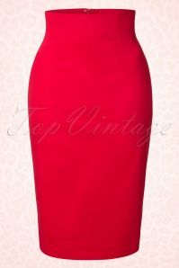 50s Falda Pencil Skirt in Red