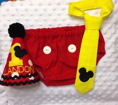 Boys Cake Smash Outfit - Mickey Mouse - Diaper Cover, Tie & Birthday Hat - Photo Prop - Boys Birthday Outfit - First 1st Birthday Set by SlickandBoogers on Etsy https://www.etsy.com/listing/175292654/boys-cake-smash-outfit-mickey-mouse