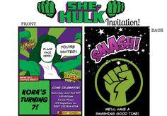 SHE HULK Invitations, Incredible Hulk, Hulk Birthday Invitation, Hulk Birthday, Hulk Party, Superhero Invitation, Superhero Birthday by WalkingMombieDesign on Etsy Superhero Invitations, Personalized Invitations, Birthday Invitations, Hulk Hulk, Hulk Birthday Parties, Hulk Party, Printable Party, Incredible Hulk, To My Daughter