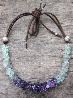 Natural amethyst necklace Multicolor fluorite por JaneRJewelry