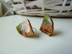 Martinuska / Zeleno hnedé/cork earrings