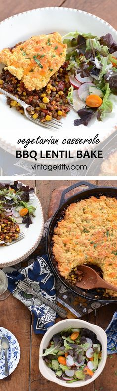 Our recipe for BBQ Lentil Bake is a dish for all seasons. It's a comfort food during the cold season but also an ideal vegetarian casserole for cookouts.#vegetarianrecipes #lentil #casserole #castiron #bbq