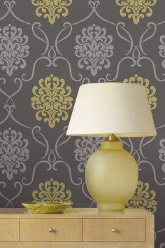Ultra-Removable Eco Wallpaper | Suzette Grey Modern Damask Wallpaper