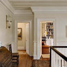 Is this the wall color of our house? trim is navaho white (BM) and wall color is Farrow and Ball James White Cream Walls, White Walls, White Hallway, Benjamin Moore Navajo White, White Dove Benjamin Moore Walls, Casas Magnolia, Interior Exterior, Interior Design, Exterior Paint