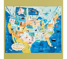 love this map for boy's room.
