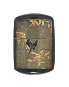 A four-case lacquer inro with crows. Edo period (1615-1868), early 19th century. Japan.