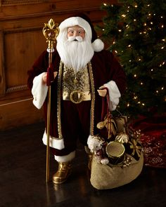 Burgundy Luxe Santa, at Neiman Marcus. Father Christmas, Santa Christmas, White Christmas, Vintage Christmas, Christmas Crafts, Christmas Decorations, Christmas Ornaments, Holiday Decor, Christmas China