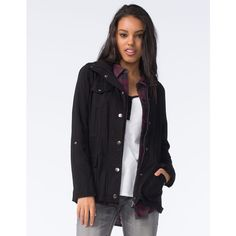 Full Tilt Rayon Womens Anorak Jacket ($40) ❤ liked on Polyvore featuring outerwear, jackets, black, embellished jacket, black lightweight jacket, button jacket, mini jacket and lightweight jackets