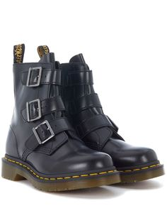 bc878add88bb DR. MARTENS BLAKE BLACK LEATHER ANKLE BOOTS WITH STRAPS AND ZIP