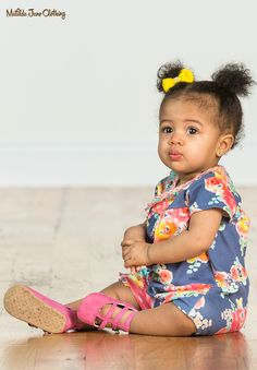 Wish You Were Here; Summer 2018; Going Places Romper. She's going places and she'll look totally adorable in this colorful floral romper while doing it! Snap closures make this easy piece even easier for days of errands or adventures. #MatildaJane #BabyFashion #BabyClothes #BabyRomper #Blue #BlueRomper #Floral #FloralRomper #SummerFashion