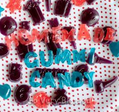 Homemade Gummy Candy - So Very Blessed Candy Recipes, Sweet Recipes, Snack Recipes, Yummy Recipes, Dessert Recipes, Homemade Gummies, Homeade Candy, Homemade Food, Yummy Treats