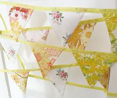 Bunting in Vintage Fabric Yellow Floral by littleteawagon