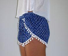 Pom Pom Shorts Cobalt Blue  White Daisy Print by ljcdesignss