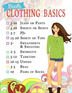 Girls Clothing Basics | This is the second in a 5-part series for girls 7-17. Clothing organization for kids.