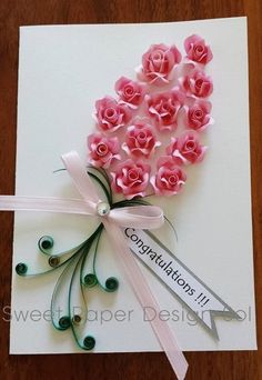 Paper Quilled Beautiful 12 Pink Rose Card by SweetPaperDesignSol