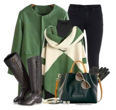 """""""Color Block Sweater,Green"""" by honkytonkdancer ❤ liked on Polyvore featuring Paige Denim, Jil Sander, Tory Burch, Dooney & Bourke, Yves Saint Laurent, Chanel, women's clothing, women, female and woman"""