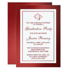 Red Metallic Graduation Hat Graduation Party Card - graduation party invitations cards custom invitation card design party