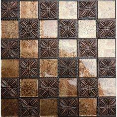 "Glass Mosaic Resin Flower Tile 1-7/8"" Brown Brick Tiles Clear Glass Random Patterns"