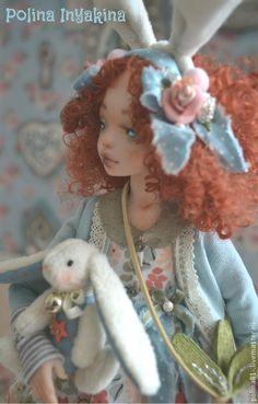 Купить Рыженькая девочка - голубой, кукла ручной работы, кукла интерьерная, подарок девушке