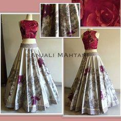 Fancy Women Semi Stitched Lehenga With Full Size - Lehenga Cholis - Ethnic Wear - Women India Fashion, Ethnic Fashion, Asian Fashion, Indian Attire, Indian Wear, Indian Dresses, Indian Outfits, Blouse Lehenga, Lehenga Designs