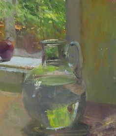 a painting a day by Duane Keiser Vase of Water and Apple