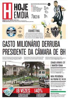 Capa do dia 07/12/2016 #HojeEmDia #Jornal #Notícias #News #Newspaper