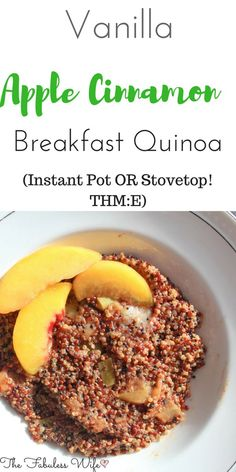 Breakfast Quinoa is a great way to get those healthy grains in. this recipe can be made in the Instant Pot or stovetop. It's low-fat and a THM:E! Recipes quinoa Vanilla Apple Cinnamon Breakfast Quinoa (Low-Fat,Instant Pot, THM:E) Quinoa Recipes Easy, Vegetarian Recipes, Healthy Recipes, Thm Recipes, Vegan Meals, Eat Healthy, Crockpot Recipes, Apple Breakfast, Quinoa Breakfast