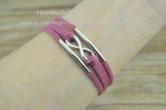 infinity wish bracelet pink leather bracelet by HandmadeTribe, $2.99 Fashion cuff bracelet, the best gift