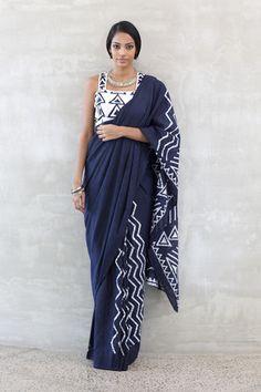 Navy Tribe - shipping from Jan - Order Now Cotton Saree Designs, Saree Blouse Designs, Designer Sarees Collection, Saree Collection, Formal Saree, Drape Sarees, Stylish Blouse Design, Simple Sarees, Elegant Saree