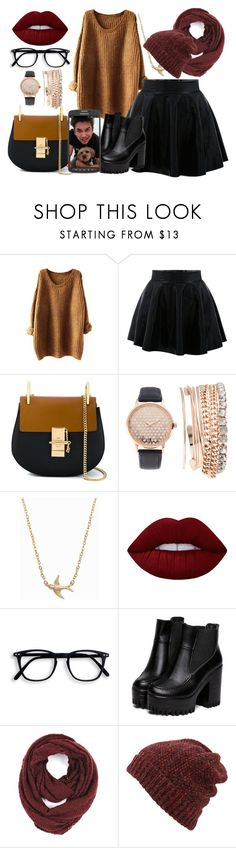 """First date with Brennen"" by sabrina-emo ❤ liked on Polyvore featuring Chloé, Jessica Carlyle, Minnie Grace, Lime Crime, Paula Bianco, Inverni and Samsung"