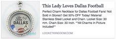 <3 LOVE Dallas Football! Cute Floating Locket Necklace idea! https://locketkingdom.com/products/lady-loves-dallas-football