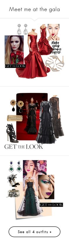 """Meet me at the gala"" by sanjocka ❤ liked on Polyvore featuring Monique Lhuillier, Jimmy Choo, Kenneth Jay Lane, GetTheLook, MetGala, Dolce&Gabbana, Giuseppe Zanotti, Post-It, Carolina Herrera and Cartier"