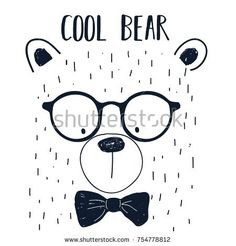 cool bear slogan and bear face hand drawing illustration vector. cool bear slogan and bear face hand drawing illustration vector. Bear Face Drawing, Baby Drawing, Logo Garden, Boy Room Paint, Face Illustration, Kids Prints, Pattern Drawing, Creative Kids, Screen Printing